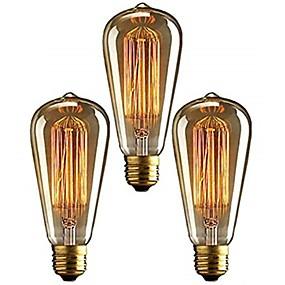 ieftine Becuri Incandescente-3pcs 40 W E26 / E27 ST64 Alb Cald 2200-2700 k Retro / Intensitate Luminoasă Reglabilă / Decorativ Incandescent Vintage Edison bec 220-240 V