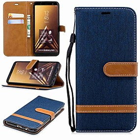 voordelige Galaxy A5(2016) Hoesjes / covers-hoesje Voor Samsung Galaxy A6 (2018) / A6+ (2018) / A3 (2017) Portemonnee / Kaarthouder / met standaard Volledig hoesje Effen Hard tekstiili