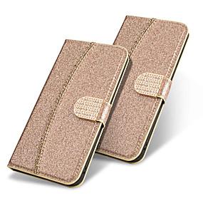voordelige Galaxy J3(2017) Hoesjes / covers-hoesje Voor Samsung Galaxy J8 (2018) / J7 (2017) / J7 (2018) Portemonnee / Kaarthouder / Strass Volledig hoesje Glitterglans / Strass Hard PU-nahka