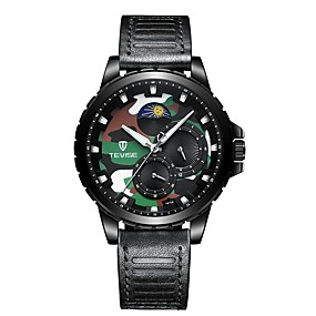voordelige Merk Horloge-Tevise Heren mechanische horloges Japans Automatisch opwindmechanisme Echt leer Zwart / Bruin 30 m Waterbestendig Schattig s Nachts oplichtend Analoog Informeel Modieus - Zwart Goud Bruin / Maanfase