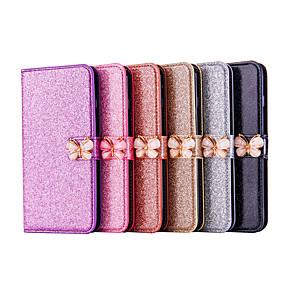 Недорогие Чехлы и кейсы для Galaxy Note 8-Кейс для Назначение SSamsung Galaxy Note 9 / Note 8 Кошелек / Бумажник для карт / со стендом Чехол Однотонный / Бабочка / Сияние и блеск Твердый Кожа PU