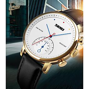Недорогие Фирменные часы-SKMEI Муж. Жен. Наручные часы электронные часы Кварцевый Дамы Защита от влаги Натуральная кожа Черный Аналоговый - Черный и золотой Черный Коричневый