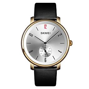 Недорогие Фирменные часы-SKMEI Муж. Нарядные часы Наручные часы Кварцевый Классика Защита от влаги Натуральная кожа Черный Аналоговый - Золотистый Черный Синий Один год Срок службы батареи