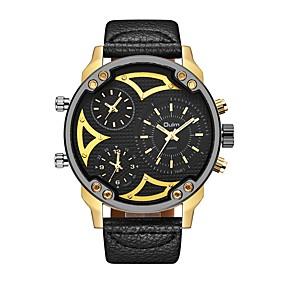 Недорогие Фирменные часы-Oulm Муж. Спортивные часы Армейские часы Японский кварц Крупногабаритные На каждый день С тремя часовыми поясами Кожа Черный Аналоговый - Золото / Белый Белый Черный Один год Срок службы батареи