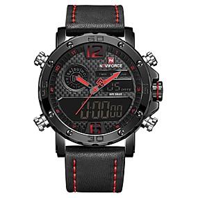 Недорогие Фирменные часы-NAVIFORCE Муж. Спортивные часы Наручные часы электронные часы Японский кварц На каждый день Защита от влаги Натуральная кожа Черный / Коричневый Аналого-цифровые - Черный / Красный Черный / коричневый