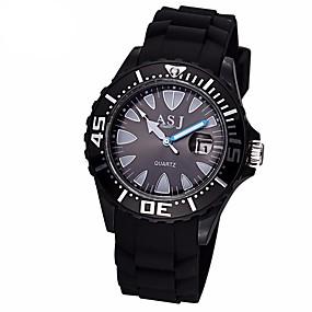 Недорогие Фирменные часы-ASJ Муж. Спортивные часы Кварцевый На каждый день Защита от влаги силиконовый Черный / Белый Аналоговый - Белый Черный / Японский / Японский