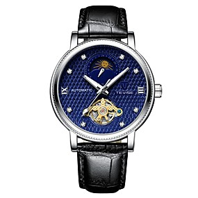 voordelige Merk Horloge-Tevise Heren mechanische horloges Japans Automatisch opwindmechanisme Echt leer Zwart 30 m Waterbestendig Hol Gegraveerd s Nachts oplichtend Analoog Informeel Modieus - Zwart Zwart / Blauw / Maanfase