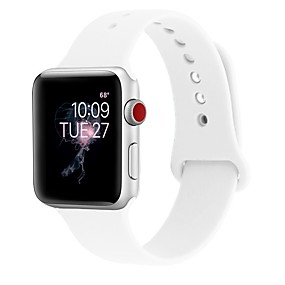 رخيصةأون ساعات ذكية-جل السيليكا حزام حزام إلى Apple Watch Series 4/3/2/1 أسود / الأبيض / أزرق 23CM / 9 بوصة 2.1cm / 0.83 Inches