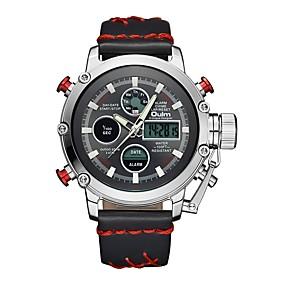 Недорогие Фирменные часы-Oulm Муж. Спортивные часы Армейские часы электронные часы Японский Японский кварц Кожа Черный / Коричневый 30 m Защита от влаги Календарь ЖК экран Аналого-цифровые На каждый день Мода Steampunk -