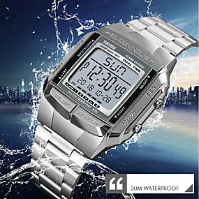 Недорогие Фирменные часы-SKMEI Муж. Нарядные часы Наручные часы электронные часы Японский Цифровой Нержавеющая сталь Серебристый металл / Золотистый / Розовое золото 30 m Защита от влаги Календарь Хронометр Цифровой