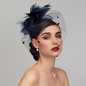 cheap Women's Accessories-Feather / Net Kentucky Derby Hat / Fascinators / Headpiece with Feather / Floral / Flower 1pc Wedding / Special Occasion Headpiece