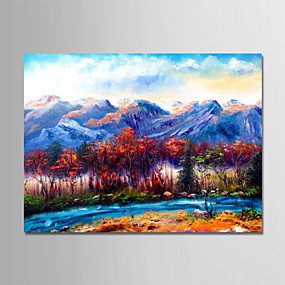 رخيصةأون لوحات-هانغ رسمت النفط الطلاء رسمت باليد - مناظر طبيعية الحديث بدون إطار داخلي / توالت قماش