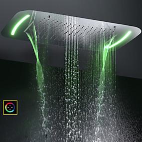 voordelige Huis & Tuin-71x43 cm badkamer douchekop / roestvrij staal sus 304 / hedendaagse / bubbel verstuiven waterval regen vier functies / met kleurrijke led licht veranderd door aanraakscherm