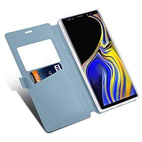 Недорогие Чехлы и кейсы для Galaxy Note 8-Кейс для Назначение SSamsung Galaxy Note 9 / Note 8 Бумажник для карт / со стендом / Флип Чехол Однотонный / Плитка Твердый Кожа PU