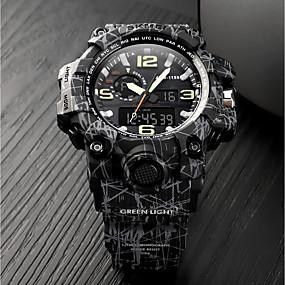 Недорогие Фирменные часы-SKMEI Муж. Для пары Армейские часы электронные часы Цифровой Стеганная ПУ кожа Черный 50 m Защита от влаги Календарь Секундомер Аналого-цифровые На каждый день Мода -  / Хронометр / Фосфоресцирующий