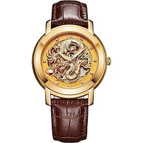 voordelige Merk Horloge-Angela Bos Heren Skeleton horloge mechanische horloges Automatisch opwindmechanisme Echt leer Goud 30 m Waterbestendig Hol Gegraveerd Vrijetijdshorloge Analoog Vintage Elegant - Goud Wit Zwart Een