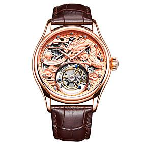 voordelige Merk Horloge-AngelaBOS Heren Skeleton horloge mechanische horloges Handmatig opwindmechanisme Echt leer Zwart / Bruin 30 m Waterbestendig Hol Gegraveerd Nieuw Design Analoog Luxe Modieus - Goud Zilver Goud Rose
