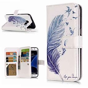 voordelige Galaxy S7 Hoesjes / covers-hoesje Voor Samsung Galaxy S9 / S9 Plus / S8 Plus Portemonnee / Kaarthouder / met standaard Volledig hoesje Veren Hard PU-nahka