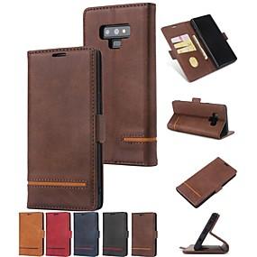 Недорогие Чехлы и кейсы для Galaxy Note 8-Кейс для Назначение SSamsung Galaxy Note 9 / Note 8 Кошелек / Бумажник для карт / со стендом Чехол Однотонный Твердый Кожа PU