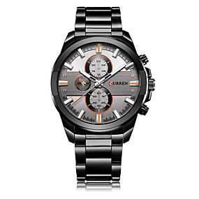 Недорогие Фирменные часы-CURREN Муж. Наручные часы Японский Японский кварц Нержавеющая сталь Черный / Серебристый металл 30 m Защита от влаги Календарь Фосфоресцирующий Аналоговый На каждый день Мода - Черный Серебряный