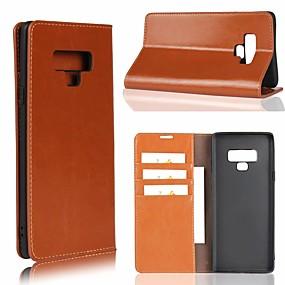 Недорогие Чехлы и кейсы для Galaxy Note 8-Кейс для Назначение SSamsung Galaxy Note 9 / Note 8 / Note 5 Бумажник для карт / со стендом Чехол Однотонный Твердый Настоящая кожа