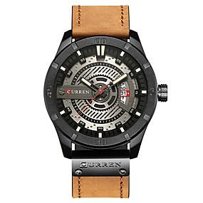 Недорогие Фирменные часы-CURREN Муж. Наручные часы Японский Японский кварц Натуральная кожа Коричневый / Тёмно-зелёный 30 m Защита от влаги Календарь Повседневные часы Аналоговый На каждый день Мода - Темно-зеленый Коричневый