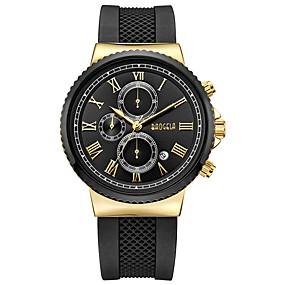 Недорогие Фирменные часы-BAOGELA Муж. Спортивные часы Японский кварц На каждый день Защита от влаги силиконовый Черный / Синий Аналоговый - Черный и золотой Серебристый / Синий / Календарь / Секундомер