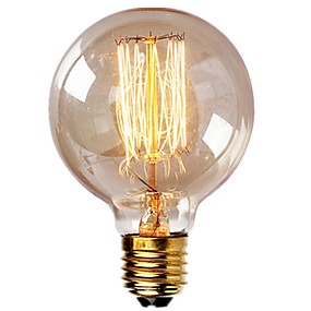 ieftine Becuri Incandescente-1pc vintage becuri edison cu filament spiral 40w dimmable e27 g95 glob rotund mare antichitate lumina aur finisaj design industrial chihlimbar