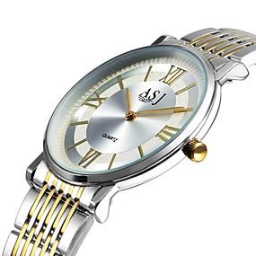 Недорогие Фирменные часы-ASJ Муж. Нарядные часы Японский кварц Классика Повседневные часы Нержавеющая сталь Белый / Золотистый Аналоговый - Золото / Белый Серебряный Один год Срок службы батареи / Крупный циферблат
