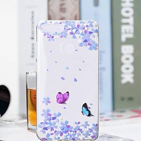 Недорогие Чехлы и кейсы для Huawei Honor-Кейс для Назначение Huawei Huawei Honor 10 / Honor 9 / Huawei Honor 9 Lite Прозрачный / С узором Кейс на заднюю панель Бабочка / Цветы Мягкий ТПУ