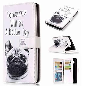 Недорогие Чехлы и кейсы для Galaxy Note 8-Кейс для Назначение SSamsung Galaxy Note 9 / Note 8 / Note 5 Кошелек / Бумажник для карт / со стендом Чехол С собакой Твердый Кожа PU