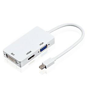 Недорогие DisplayPort-yongwei 3 в 1 мини-порт дисплея (порт для молнии) для hdmi / dvi / vga для женского адаптера конвертера для apple macbooks microsoft поверхность планшеты google chromebook pixel