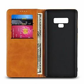 Недорогие Чехлы и кейсы для Galaxy Note 8-Кейс для Назначение SSamsung Galaxy Note 9 / Note 8 Бумажник для карт / со стендом Чехол Однотонный Твердый Настоящая кожа