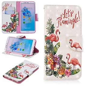 Недорогие Чехлы и кейсы для Huawei Mate-Кейс для Назначение Huawei Huawei Nova 3i / Huawei P Smart Plus / Honor 7A Кошелек / Бумажник для карт / со стендом Чехол Слова / выражения / Фламинго Твердый Кожа PU