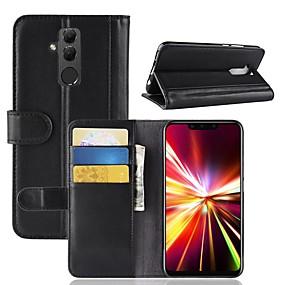 Недорогие Чехлы и кейсы для Huawei Mate-Кейс для Назначение Huawei Mate 10 / Mate 10 pro / Mate 10 lite Кошелек / Бумажник для карт / Флип Чехол Однотонный Твердый Настоящая кожа