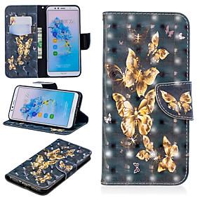 Недорогие Чехлы и кейсы для Huawei Mate-Кейс для Назначение Huawei Huawei Nova 3i / Huawei P Smart Plus / Honor 7A Кошелек / Бумажник для карт / со стендом Чехол Бабочка Твердый Кожа PU