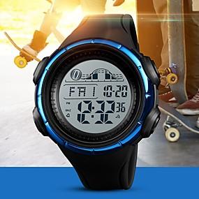 Недорогие Фирменные часы-SKMEI Муж. Для пары электронные часы Цифровой Стеганная ПУ кожа Черный / Синий / Цвет клевера 50 m Защита от влаги Календарь Хронометр Цифровой На каждый день Мода - Черный Зеленый Синий