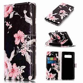 Недорогие Чехлы и кейсы для Galaxy Note 8-Кейс для Назначение SSamsung Galaxy Note 9 / Note 8 Кошелек / Бумажник для карт / со стендом Чехол Цветы Твердый Кожа PU