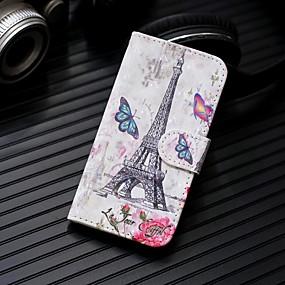 Недорогие Чехлы и кейсы для Galaxy Note 8-Кейс для Назначение SSamsung Galaxy Note 9 / Note 8 Кошелек / Бумажник для карт / со стендом Чехол Эйфелева башня Твердый Кожа PU