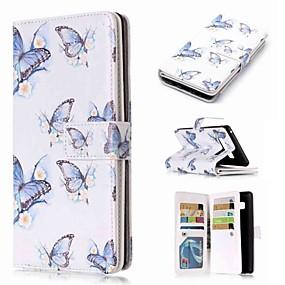 baratos Comprar por Modelo de Celular-Capinha Para Samsung Galaxy Note 9 / Note 8 / Note 5 Carteira / Porta-Cartão / Com Suporte Capa Proteção Completa Borboleta Rígida PU Leather