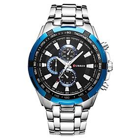 Недорогие Фирменные часы-CURREN Муж. Нарядные часы Японский Японский кварц Нержавеющая сталь Серебристый металл 30 m Защита от влаги Фосфоресцирующий Cool Аналоговый Роскошь Классика Мода -