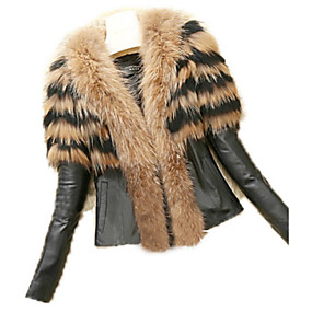 cheap Women's Furs & Leathers-Women's Daily Basic Plus Size Regular Leather Jacket, Solid Colored Collarless Long Sleeve Faux Fur White / Black / Yellow / Slim