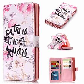 Недорогие Чехлы и кейсы для Galaxy Note 8-Кейс для Назначение SSamsung Galaxy Note 9 / Note 8 / Note 5 Кошелек / Бумажник для карт / со стендом Чехол Слова / выражения / Цветы Твердый Кожа PU