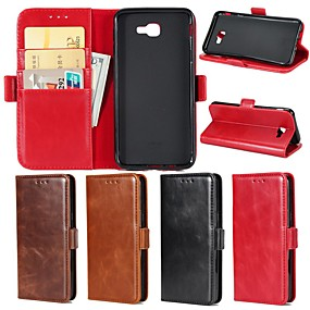 cheap Galaxy J5(2016) Cases / Covers-Case For Samsung Galaxy J7 Prime / J7 Perx / J7 (2016) Wallet / Card Holder / with Stand Full Body Cases Solid Colored Hard Genuine Leather