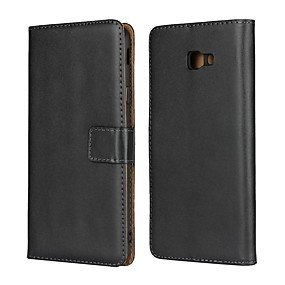 cheap Galaxy J7(2017) Cases / Covers-Case For Samsung Galaxy J8 (2018) / J7 (2017) / J7 (2018) Wallet / Card Holder / with Stand Full Body Cases Solid Colored Hard Genuine Leather