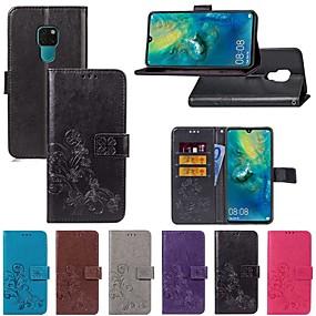 Недорогие Чехлы и кейсы для Huawei Mate-Кейс для Назначение Huawei Mate 10 / Mate 10 pro / Mate 10 lite Бумажник для карт / со стендом / Флип Чехол Однотонный / Бабочка Твердый текстильный / Mate 9 Pro