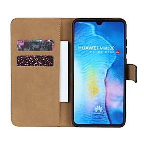 Недорогие Чехлы и кейсы для Huawei Mate-Кейс для Назначение Huawei Huawei Nova 3i / Huawei Honor 9i / Mate 10 Кошелек / Бумажник для карт / со стендом Чехол Однотонный Твердый Настоящая кожа