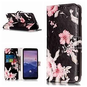 Недорогие Чехлы и кейсы для Huawei Mate-Кейс для Назначение Huawei Mate 10 / Mate 10 pro / Mate 10 lite Кошелек / Бумажник для карт / со стендом Чехол Цветы Твердый Кожа PU