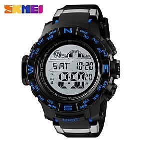 Недорогие Фирменные часы-SKMEI Муж. Спортивные часы Армейские часы электронные часы Цифровой Стеганная ПУ кожа Черный 50 m Будильник Календарь Секундомер Цифровой На каждый день Мода - Черный Красный Синий / Один год