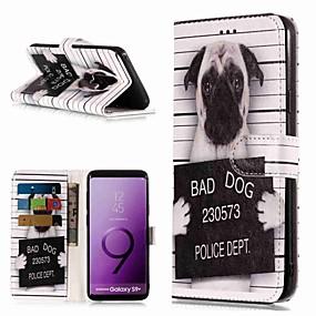 voordelige Galaxy S7 Edge Hoesjes / covers-hoesje Voor Samsung Galaxy S9 / S9 Plus / S8 Plus Portemonnee / Kaarthouder / met standaard Volledig hoesje Hond Hard PU-nahka